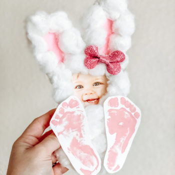 Free Cotton Ball Bunny Footprint Template