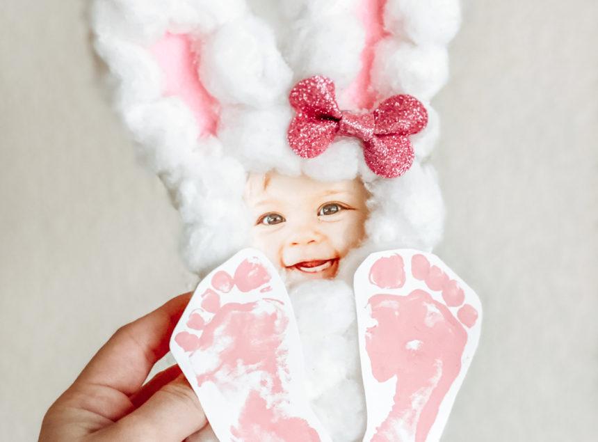 Free Cotton Ball Bunny Footprint Template